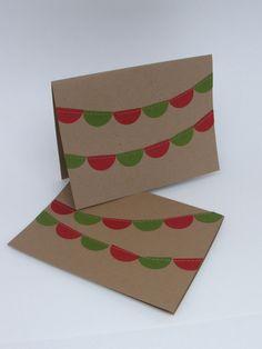 Sewn bunting Christmas Card! Set of 6 $8