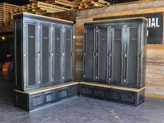 Custom mudroom lockers for an entry with our Vintage Industrial spin!