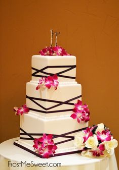 black white square modern geometric wedding cake with orchids by Frost Me Sweet