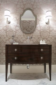 Love the midcentury furniture as a vanity,