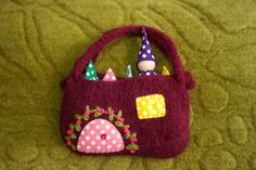 Polka dot Gnomes in a pouch wood peg dolls felted by greenmountain, $22.00
