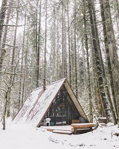 discoverearth: Winter is the fine for comfort for good food and warmth for the touch of a friendly hand and a talk beside the fire: it is time for home. Snow Cabin, Winter Cabin, Cozy Cabin, Winter Snow, A Frame Cabin, A Frame House, Prefab Homes, Cabin Homes, Cabins In The Woods