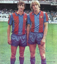 Johan Cruyff y Bernd Schuster, FC Barcelona. Partido homenaje a Asensi en en Camp Nou.