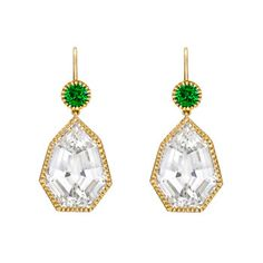 Sultanesque...Verdura Byzantine Drop Earrings Tsavorite Green and Topaz Garnet