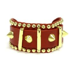 "Leather Spike Bracelet; 8.25""L; Red Genuine Leather Strap; Gold Hardware; Snap Closure; Eileen's Collection. $45.99"