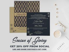 Our spring fever is 😆😆out of control. @A2zWeddingCards brings a offer on #WeddingInvitations from social😍😍. Follow some steps and get 20% Off on your order😎😎. #WeddingInvitationsOffer #DealsOnWeddingInvitations #InvitationsOffers Shop Now https://www.a2zweddingcards.com/social-offer