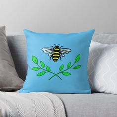 'Honey bee' Throw Pillow by pixelpixelpixel Buy Honey, Save The Bees, My Arts, Throw Pillows, Art Prints, Printed, Awesome, Artist, Shop
