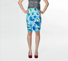 """Fitted Skirt """"Blue Watercolor Dalmatian Pattern"""" by Jenny Mhairi"""