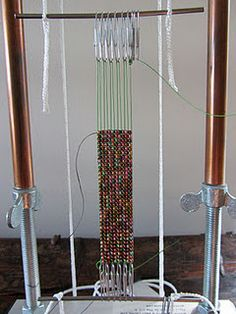 Soft Flex wire on a Mirrix Loom with No Warp Ends by Claudia Chase. C-Lon thread used for weft. Bead Loom Patterns, Peyote Patterns, Beading Patterns, Weaving Textiles, Tapestry Weaving, Polymer Beads, Beaded Jewelry Designs, Bead Loom Bracelets, Tear