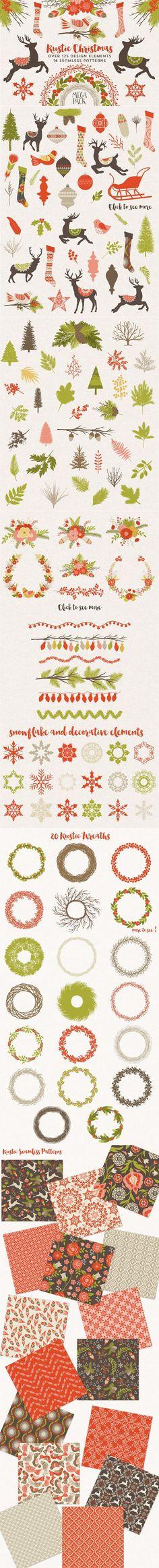 Rustic Christmas Megapack. Christmas Patterns. $25.00