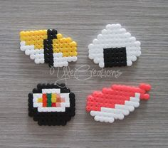 PIXEL ART sushi set hama beads perler party favor by YleCreations