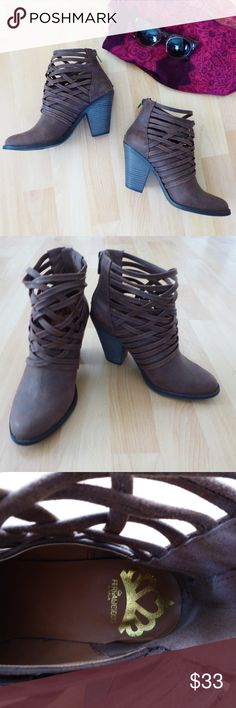 Fergalicious Booties EUC Fergalicious Whisper Woven Bootie has a criss-cross woven detailed upper with a stacked high heel, back zipper, smooth lining, cushioned insole for all-day comfort, and a traction outsole. SIZE 7 Fergalicious Shoes Ankle Boots & Booties