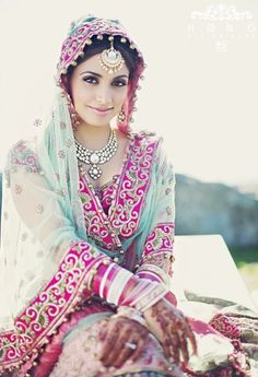 #IndianWedding: Love the #Colours. Pink and sky blue, thats unusual! #Beautiful #Weddingplz #Wedding #Bride #Groom #love #Fashion #IndianWedding  #Beautiful #Style