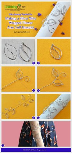 Wire Jewelry Tutorial On Making a Silver Wire Wrapped Flower Arm Cuff Bracelet from LC.Pandahall.com