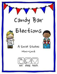 """Looking for a mini unit to teach students about the election process? Look no further. . .With candy bar elections, students hold primaries and a general election while persuading their classmates to vote for the best candy in the """"Chocolate"""" or """"Chewy"""" parties.Includes election vocabulary, introduction to the election process, and a rubric for persuasive speech.If you like this, teach your students about the Presidential candidates with our """"Election Extravaganza""""Please rate this product…"""