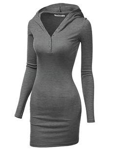 Doublju Women's Henley Neck Knit Stretchable Elasticity Long Sleeve Slim Fit Hoodie Dress BLACK Plus Size White Dresses For Women, Dress Shirts For Women, Clothes For Women, Slim Fit Hoodie, Basic Hoodie, Look Fashion, Fashion Outfits, Ladies Fashion, Fashion Design