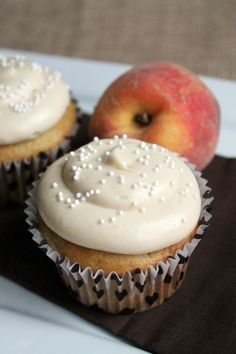 Peach Cupcakes with Brown Sugar Frosting