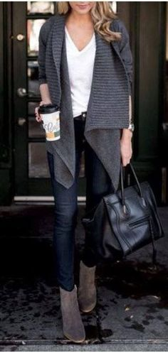 fall fashion trends / cozy cardigan + bag + jeans + boots + top