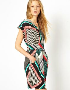 Closet Printed Tulip Dress with Wrap Front