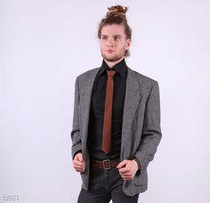 Mens Jacket / Gray Tweed Jacket / Vintage 80s / sz by BetaPorHomme, $42.00