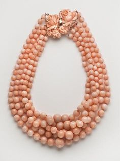 Five Strand Angel Skin Coral Necklace Pink Coral is really hard to find right now. If you leave the country with it, it has to be declared and registered by the  United States Government.