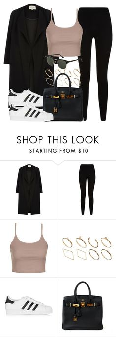 """""""Style #11402"""" by vany-alvarado ❤ liked on Polyvore featuring River Island, Givenchy, Topshop, ASOS, adidas Originals and Hermès"""