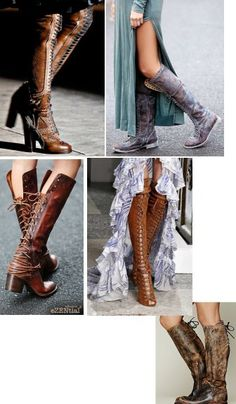 bb0f235c092 Women Vintage Lace Up Boots European Style Bandage Above Knee Boots