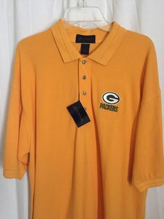 225p New NFL Green Bay Packers Yellow Golf Polo Shirt XL Shrt Sleeve Team Top #Antigua #GreenBayPackers