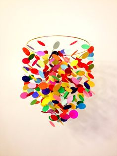 Fun handmade mobile to add a pop of color to baby of kids room