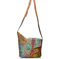 cc94dad60cf Anuschka Hand-Painted Leather Asymmetrical Flap Cross Body Bag w  Matching  Wallet Purse Brands