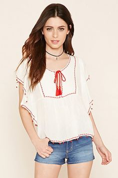 Butterfly Sleeve Peasant Top
