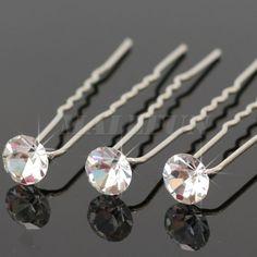 20 Pcs Clear Crystal Rhinestone Diamante Wedding Bride Prom Hair Pins Women