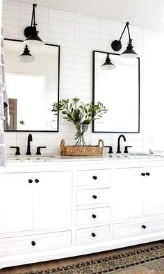 27 Beautiful Farmhouse Master Bathroom Decor Ideas And Remodel. If you are looking for Farmhouse Master Bathroom Decor Ideas And Remodel, You come to the right place. Here are the Farmhouse Master Ba. Bathroom Vanity Decor, Bathroom Interior, Bathroom Ideas, Bathroom Inspo, Bathroom Designs, Bathroom Lighting, Bathroom Plants, Bathroom Hardware, Downstairs Bathroom