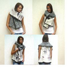 Variable Nuno Felt vest Merino Wool and Silk - Mod. via Etsy.