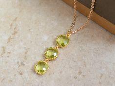 Jenna -- SALE Peridot necklace Gold necklace Goldfilled by BijouandBijou