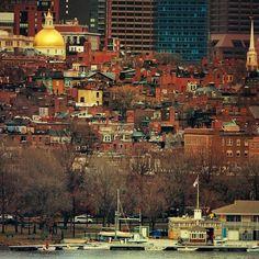 No snow, sun, early spring in Boston