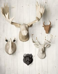 Trophy Heads 1010 de Decorating with Antlers and Animal Heads {Trend or Tried and True? Boy Room, Kids Room, Faux Taxidermy, Taxidermy Decor, Metal Tree, Oh Deer, Home And Deco, My New Room, Sweet Home
