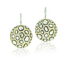 L' Dezen Jewellery Serpe Rose Gold Slice Diamond & White Diamond Earrings
