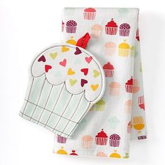 Valentine's Day Cupcake Kitchen Towel and Potholder Set - to make a mini-apron for Abby