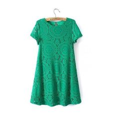 Green Crochet Lace Swing Dress (49 CAD) ❤ liked on Polyvore featuring dresses, round neck dress, crochet lace dress, lace dress, lacy dress and tent dress
