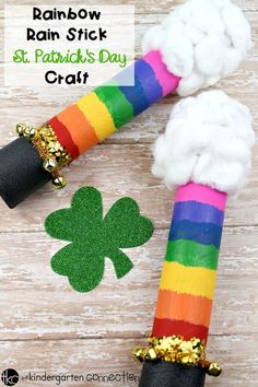 Rainbow Rain Stick St Patrick's Day Craft is part of Rainbow Rain Stick St Patricks Day Craft - This Rainbow Rain Stick St Patrick's Day Craft is a fun class project for you and your students this March! Perfect for a St Patrick's Day class party! March Crafts, St Patrick's Day Crafts, Spring Crafts, Holiday Crafts, Diy Crafts, Stick Crafts, Spring Art, Creative Crafts, Paper Crafts