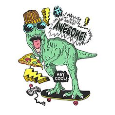 Cool Dinosaurs, Cute Dinosaur, Free Vector Graphics, Vector Art, Dinosaur Posters, Cartoon Panda, Kids Background, Cool Monsters, Skate Art