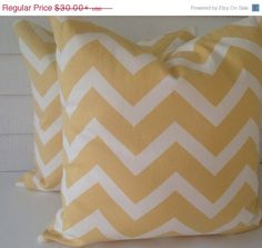 SALE YELLOW chevronSet of TWO Decorative by TwistedBobbinDesigns