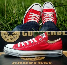 I plead guilty of shoe love <3- Converse shoes, specifically. My latest addition are red low-tops, just like the ones pictured here. One of my friends introduced me to designing my own pair of Chuck's, so that's my next project!