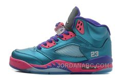 Girls Air Jordan 5 Retro GS Tropical Teal/White-Digital Pink-Court Purple