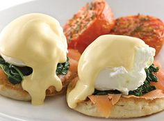 Plate of Smoked Salmon Florentine Eggs Benedict featuring Minor's products