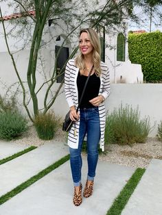 Cute Fall Outfit - long striped cardigan jeans and leopard booties Leopard  Cardigan d89058754