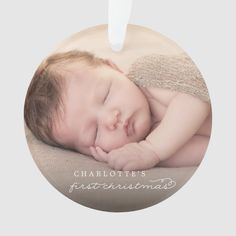 Baby First Christmas Snowflakes Stylish Chic Photo Ornament - tap, personalize, buy right now! #Ornament #ad #fatfatin #baby #first #christmas