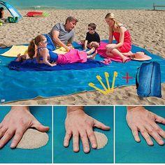 seilent Sand Free Dirt /& Dust Free Picnic Beach Mat Blanket Camping Blue Best for Family Travel Picnic Outdoor Events Outdoor Events