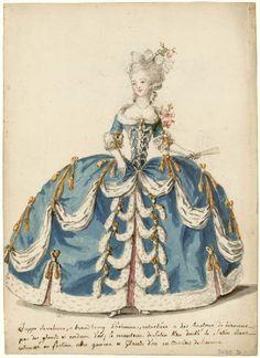 Tea at Trianon: Marie-Antoinette and Fashion, #BlogTalkRadio  Esboço de um traje feminino da era do rococó.